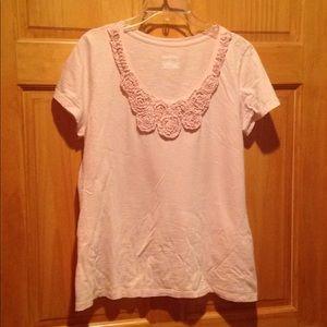 Women's XL pink Merona floral Ruffle top.